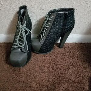 Black and gray lace up boot